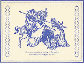 A Scout, presumably called George, slaying a dragon on a Portugese postcard