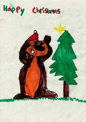 One of our Beavers drew this card, which was used as a national Scouting Christmas Card
