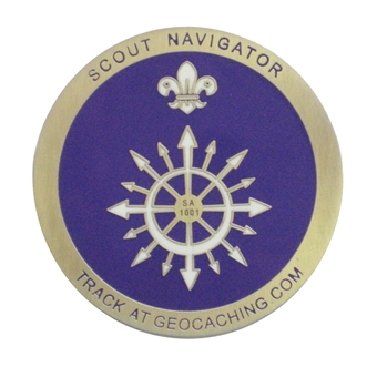 The front of our Scout Geocoins (but with varying SA codes in the middle)
